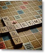 Scrabble Merry Christmas Metal Print