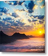 Sea Of Clouds On Sunrise With Ray Lighting Metal Print