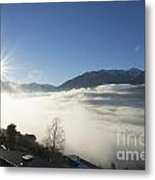 Sea Of Fog With Sunbeam Metal Print