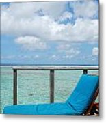Seascape And Clouscape From Water Villa In Maldives Metal Print