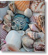 Seashells And Blue Fish Metal Print