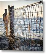 Seaside Nets Metal Print