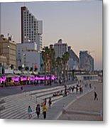 Seaside Promenade Of Tel Aviv At Dusk Metal Print