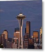 Seattle Skyline And Space Needle With City Lights Metal Print