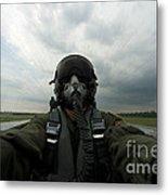 Self-portrait Of An Aerial Combat Metal Print