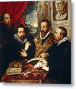 Selfportrait With Brother Philipp Justus Lipsius And Another Scholar Metal Print
