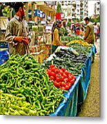 Selling Fresh Vegetables In Antalya Market-turkey Metal Print