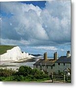 Seven Sisters Cliffs And Coastguard Cottages Metal Print