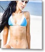 Sexy Tanned Beach Woman Metal Print