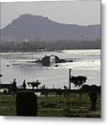 Shalimar Garden The Dal Lake And Mountains Metal Print