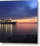 Ship At Mykonos Bay Mykonos Cyclades Greece  Metal Print