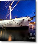 Ship At Night In Stockholm Metal Print