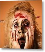 Shocked Horror Halloween Zombie With Hands Face Metal Print