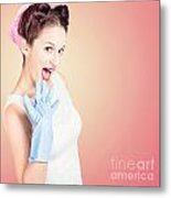 Shocked Pin-up Cleaner Girl With Funny Expression Metal Print