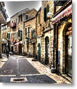 Quiet Shopping Street Before The Shops Open Metal Print