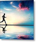 Silhouette Of Man Running At Sunset Metal Print by Michal Bednarek