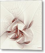 Silver And Red Metal Print by Deborah Benoit