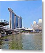 Singapore Artscience Museum Double Helix Bridge And Marina Bay  Metal Print