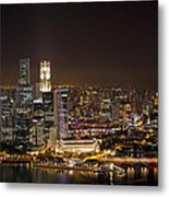 Singapore City Skyline At Night Metal Print