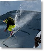 Skier Jumping On A Sunny Day Metal Print