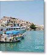Skopelos Harbour Greece Metal Print