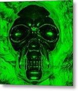 Skull In Green Metal Print