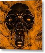 Skull In Orange Metal Print