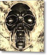 Skull In Sepia Metal Print
