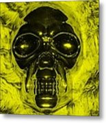 Skull In Yellow Metal Print
