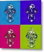 Skulls In Quad Colors Metal Print