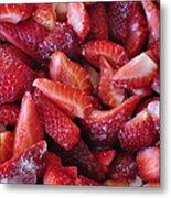 Sliced Strawberries Metal Print