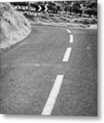 Small Narrow Country Road Leading To Dangerous Bend In County Antrim Northern Ireland Metal Print