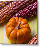 Small Pumpkin And Indian Corn Metal Print