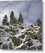 Snow Covered Cliffs And Trees Metal Print