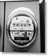snow covered electricity meters in Saskatoon Saskatchewan Canada Metal Print