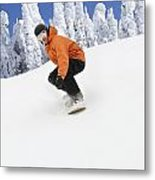 Snowboarder Going Down Snowy Hill Metal Print