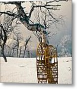 Snowshoes Leaning Against Birch Tree Snowscape Metal Print