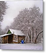 Snowy Day On The Farm Metal Print