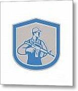 Soldier Military Serviceman Rifle Side Crest Retro Metal Print