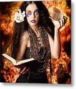 Sorcerer Casting Black Magic Spells Of Fire Metal Print