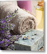 Spa With Lavender And Towel Metal Print