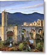 Spain. Besal�. Romanesque Bridge Metal Print