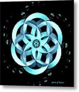 Spirit Of Water 1 - Blue With Water Drops Metal Print