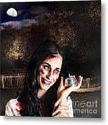 Spooky Girl With Silver Service Bell In Graveyard Metal Print