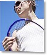 Sporting A Racquet Metal Print