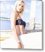 Sports Person Carrying Surf Board Outdoors Metal Print