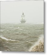 Spring Point Ledge Lighthouse In Storm In Portland Maine Metal Print
