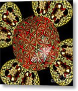Stained Glass Kaleidoscope Under Glass Metal Print