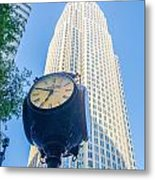 Standing By The Clock On City Intersection At Charlotte Downtown Metal Print