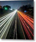 Standing In Car On Side Of The Road At Night In The City Metal Print